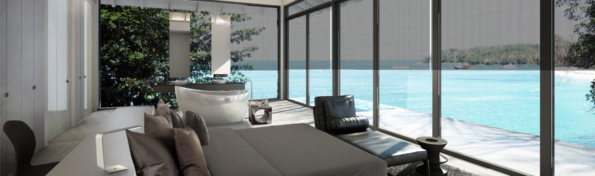 A rendering of a principle bedroom suite in a luxury Asian Villa with freestanding bathtub and sea views.