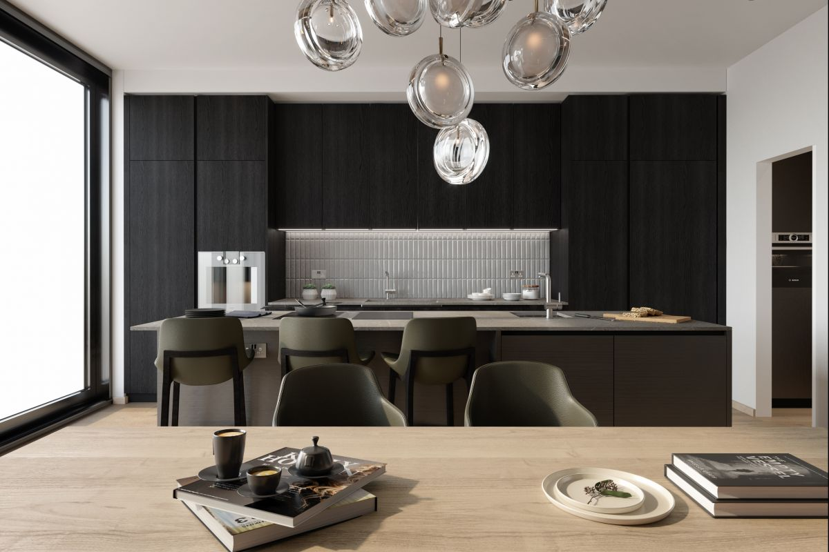 A rendering of a black wooden kitchen from Poliform London.