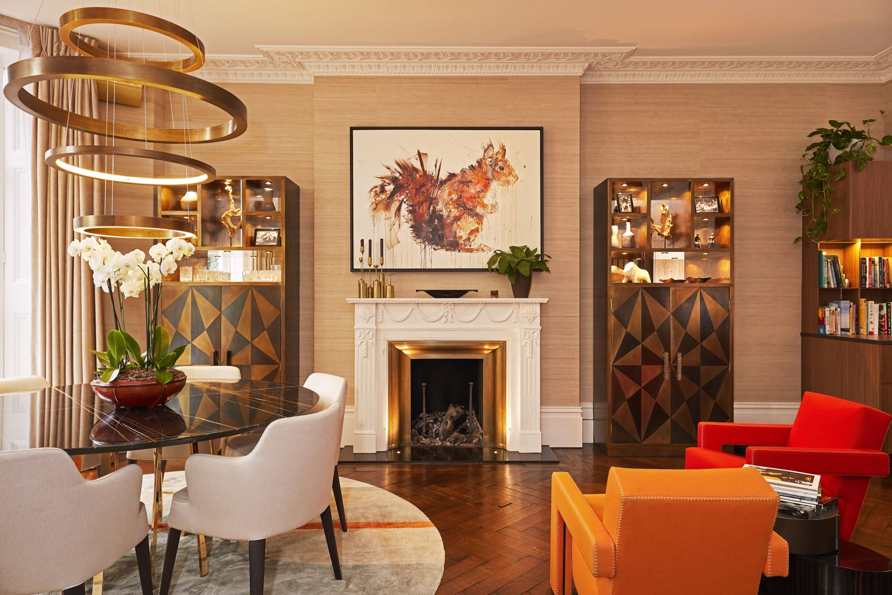 Primrose Hill House living and dining room in period property.