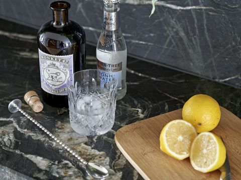 Preparing a gin and tonic in a luxury home bar.