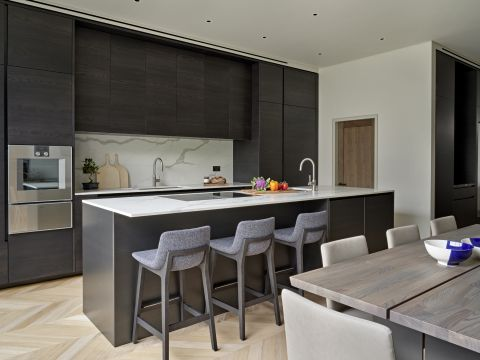 Large open plan kitchen and dining in London house.